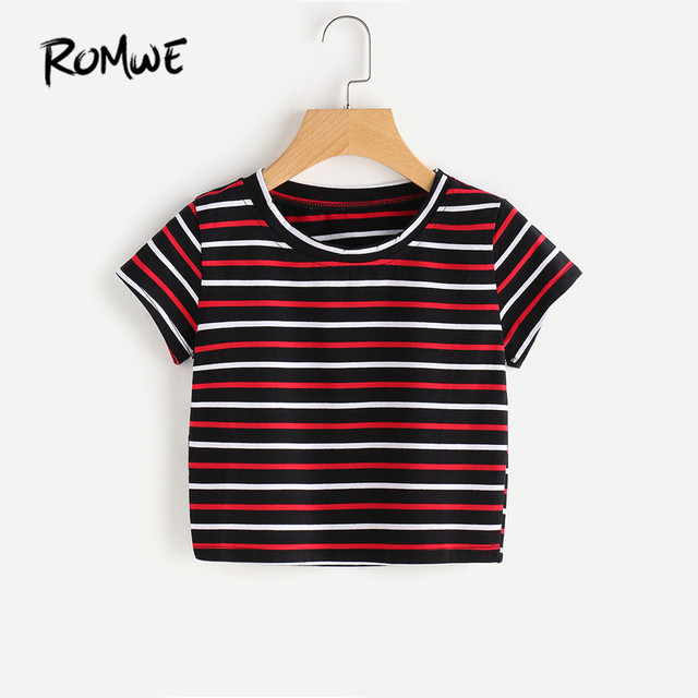 7f564684b14d ROMWE Casual T shirts Women Summer Contrast Striped Tee Multicolor Summer  Basic T-shirt Short