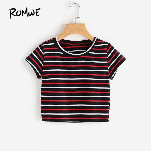 12478ec54 ROMWE Casual T shirts Women Summer Contrast Striped Tee Multicolor Summer  Basic T-shirt Short Sleeve Women Top