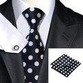 SN-1190 Black White Dot Tie Hanky Abotoaduras Define Gravatas De Seda dos homens Para Os Homens de Negócios Do Partido Frete Grátis