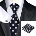 SN-1190 Black White Dot Tie Hanky Cufflinks Sets Men's Silk Ties For Men Business Party Free Shipping