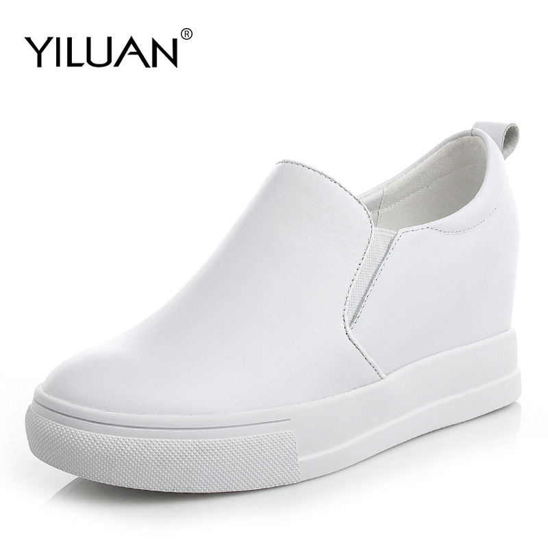 Yiluan 2019 autumn new leather women casual shoes increased white sneakers platform shoes wedges Slip On