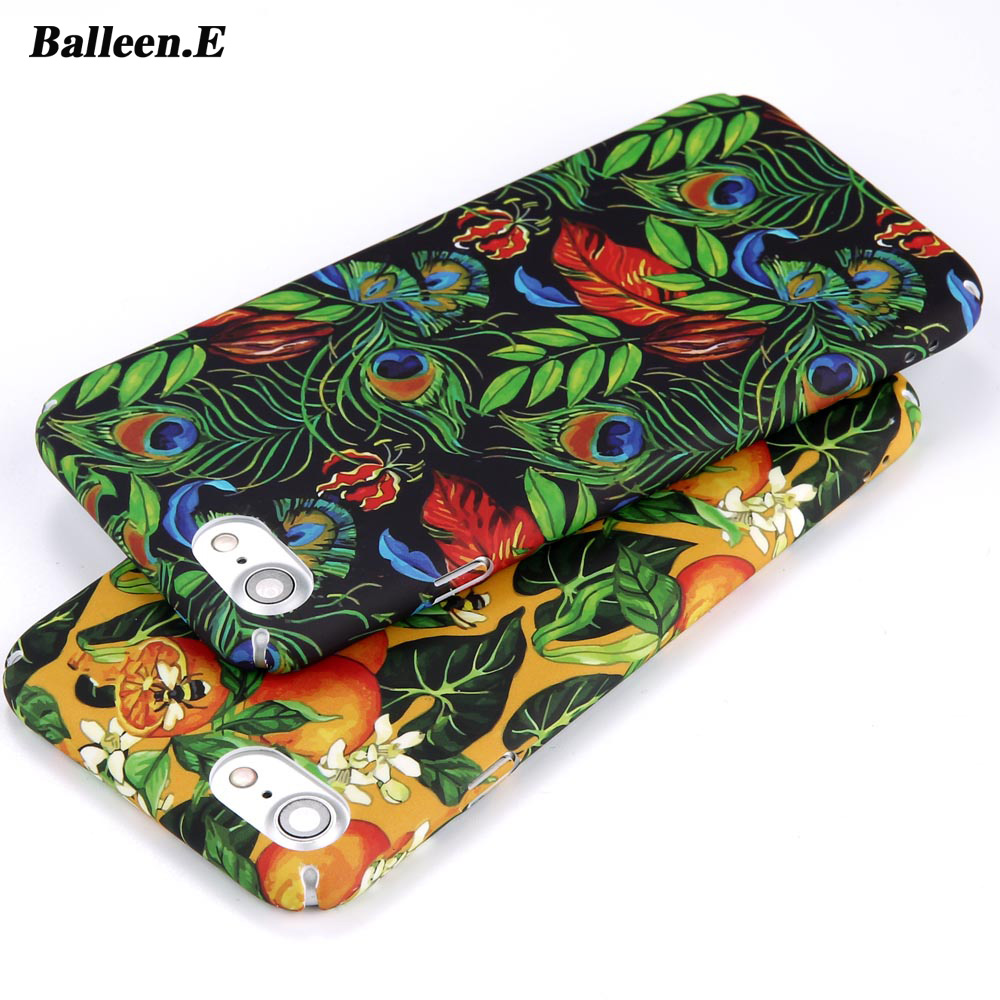Balleen.E Phone Cases For iPhone 6 6s 7 Plus Green Leaves Feather Case Orange Fruit Pattern Hard PC Full Back Cover Capa Coque