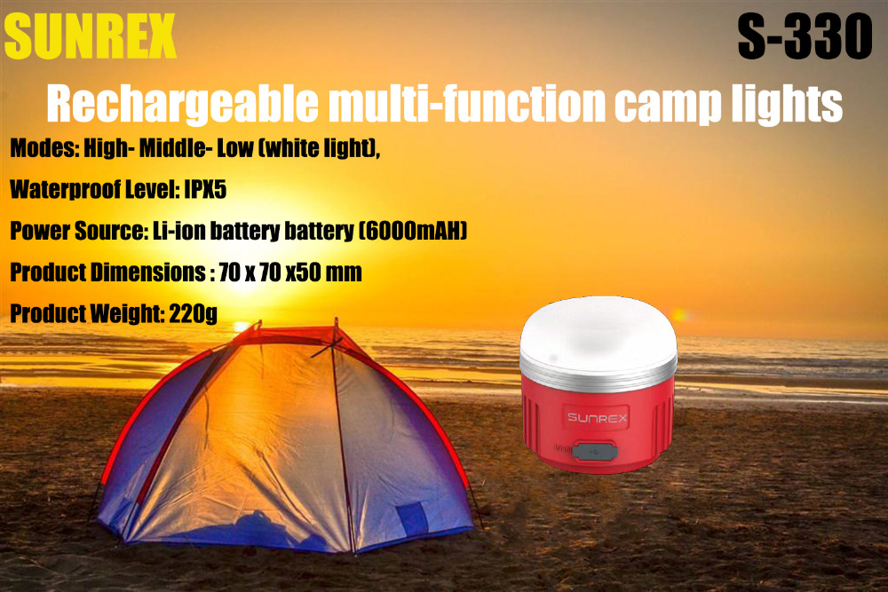 SUNREE Outdoors Camp S-330 LED Camping Light USB IPX5 Rechargeable Lamp with 6000mAH Battery+S-201 light + Solar charger