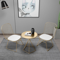 1pc round table + 2pc chair Wrought Iron Coffee Table & Chair Gold/White/Black Balcony Leisure Cafe Weaving Chair Tea Table Set