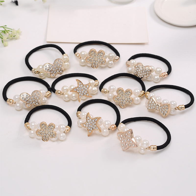 LNRRABC 2019 Girl Crystal Pearl Ladies Wedding Hair Rope Beautiful Ponytail Elastic Hair Band Rubber Raw Cute Retro Headdress