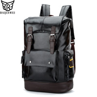 BAIJIAWEI 2017 New Men Backpacks High Grade PU Leather Fashion Travel Bags Big Capacity 15 6