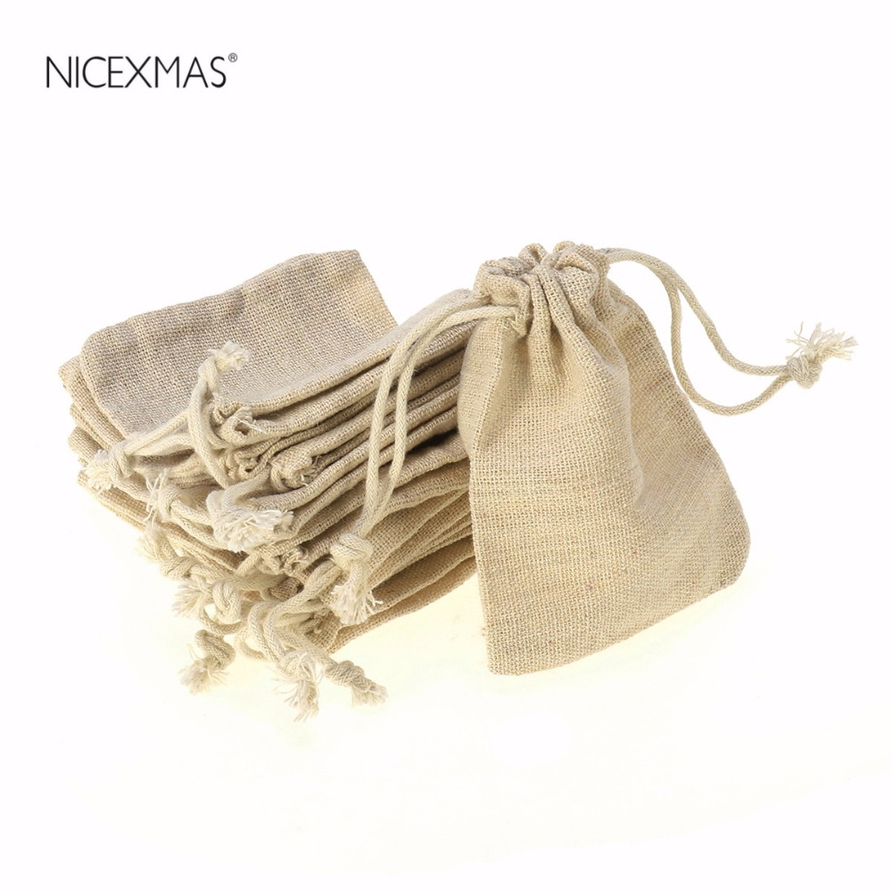10PCS Linen Jute Drawstring Gift Bags Sacks Wedding Birthday Party Favors Drawstring Gift Bags Baby Shower Supplies