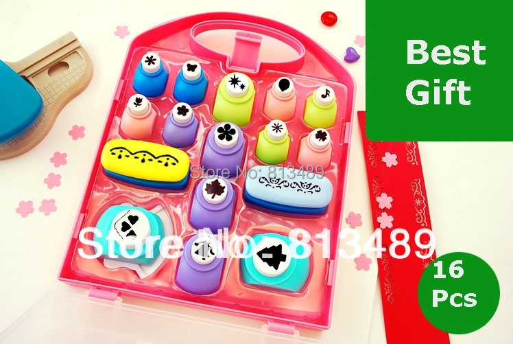 Best Gift Paper Punch Sets=16pcs Border Punches Children DIY Toy Shaper Craft Scrapbook In Nice Gift Box