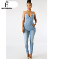HAMBELELA Summer Autumn Casual Jumpsuit V Neck Zipper Sleeveless Bodycon Bodysuit 2019 Jeans Denim Overalls Women Rompers