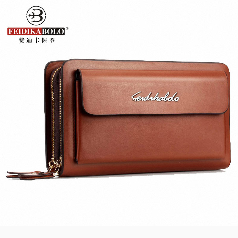 FEIDIKABOLO Brand Men Wallets Business Double Zipper Leather Wallet men Wrist Clutch Bag Large Card Holder Coin Purse 2017 Boys banlosen brand men wallets double zipper vintage genuine leather clutch wallets male purses large capacity men s wallet
