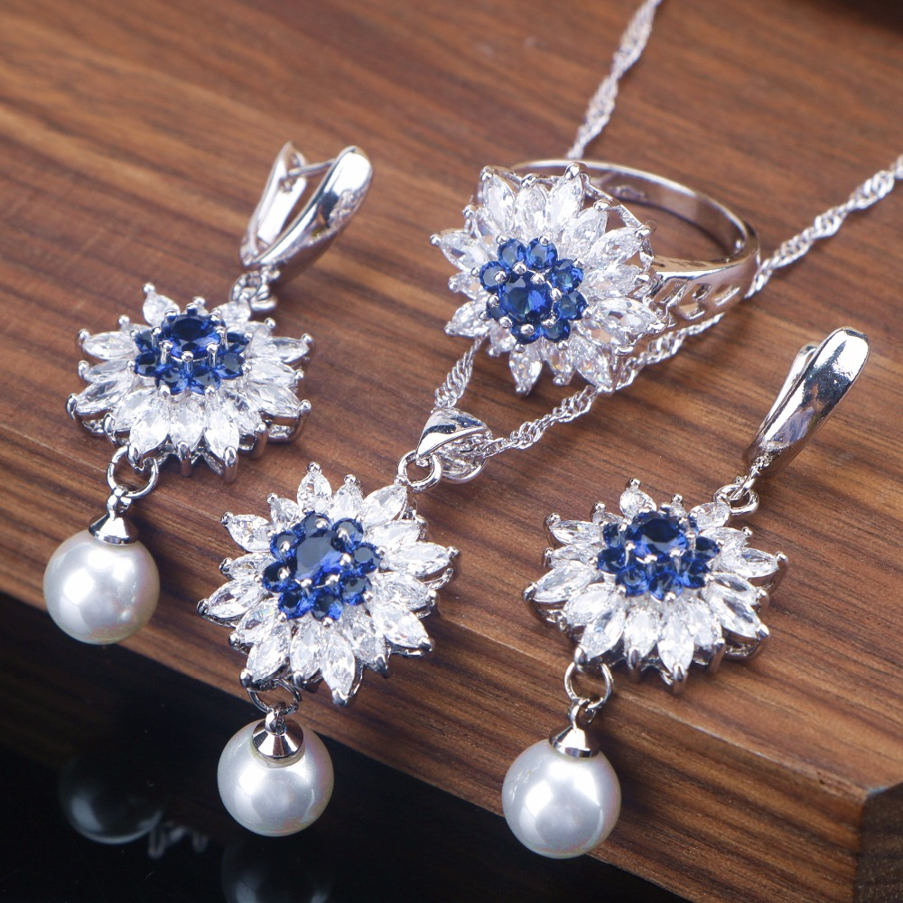 Necklace Earrings Jewelry-Sets Pendant Pearl Silver Women Zirconia 3-Colors Gift-Box