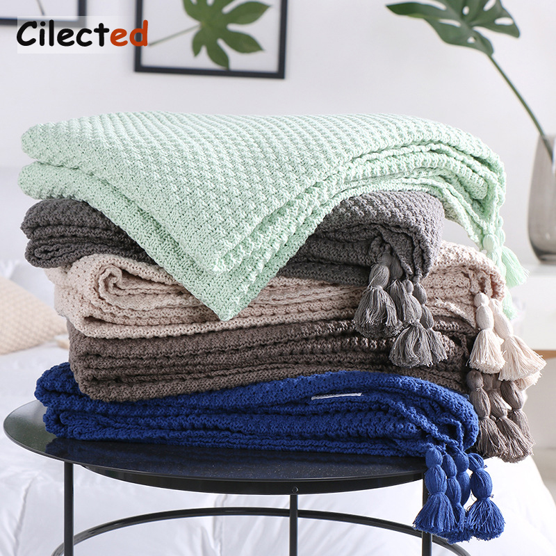 Cilected 100 Cotton Knitting Blankets 5 colors Throw Blanket On The Sofa Bed Plane Travel Plaids