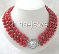 Charming AAAA 19 3row 8mm perfect round red shell necklace silver blister ^^^@^Noble style Natural Fine jewe FREE SHIPPING