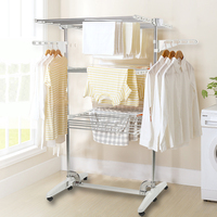 3L/4L Layers Foldable Clothes Drying Rack Household Movable Clothes Dryer Garment Rack for Clothes Trousers HWC