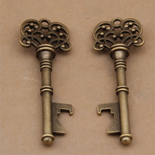 40pcs/lot Classic Creative Wedding Favors Party Gifts Antique Bronze Skeleton Key Beer Bottle Opener