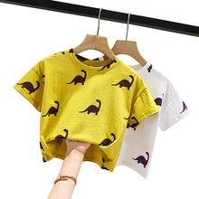 Children Boys Short Sleeve T shirt Dinosaur Print Kids White Ginger Color Costume Toddler Clothes Tshirts 1 2 3 4 5 6