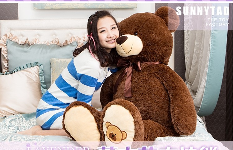 купить huge lovely bear toy plush toy cute bow stuffed teddy bear birthday gift about 140cm dark brown недорого