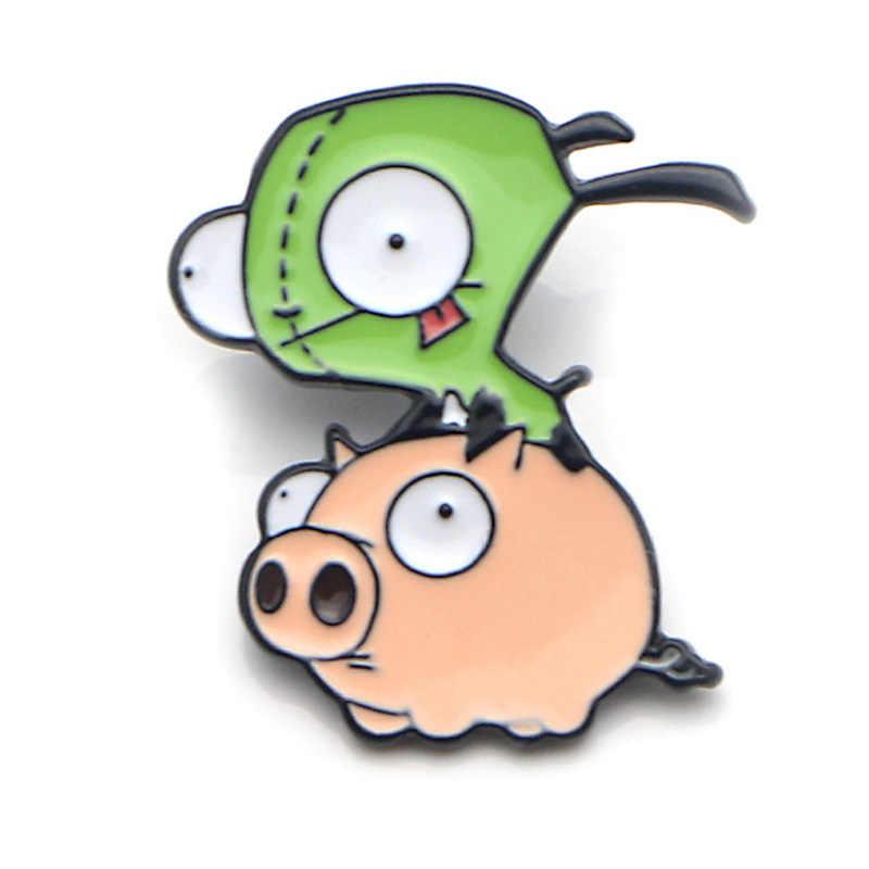 K86 Cartoon Alien Divertente Del Metallo Dello Smalto Spilli E Spille per Zaino/Sacchetto Distintivo Denim Spilla Collare Dei Monili 1 Pcs