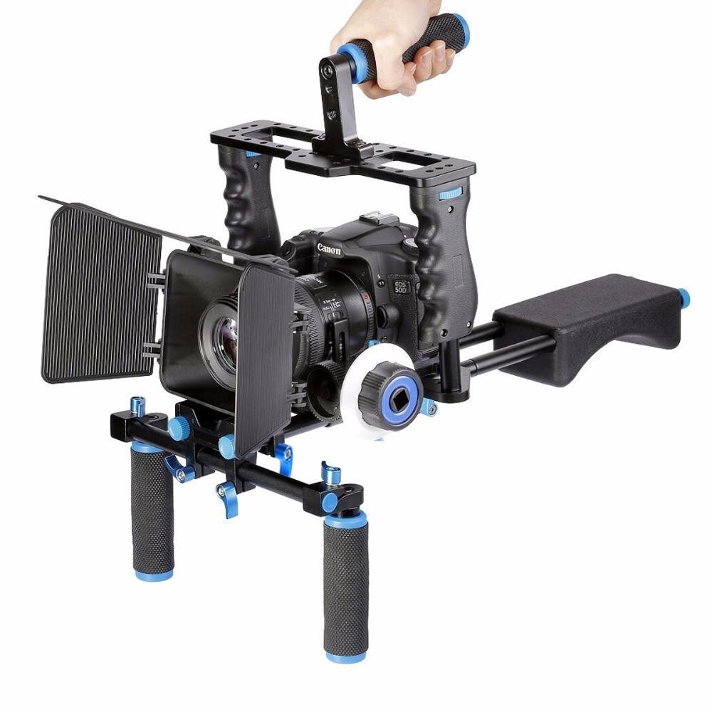 bilder für DSLR Rig Video Stabilizer Schulterstativ Rig + Matte Box + Follow Focus + Dslr Käfig für Canon Nikon Sony DSLR Kamera Video Camcorder