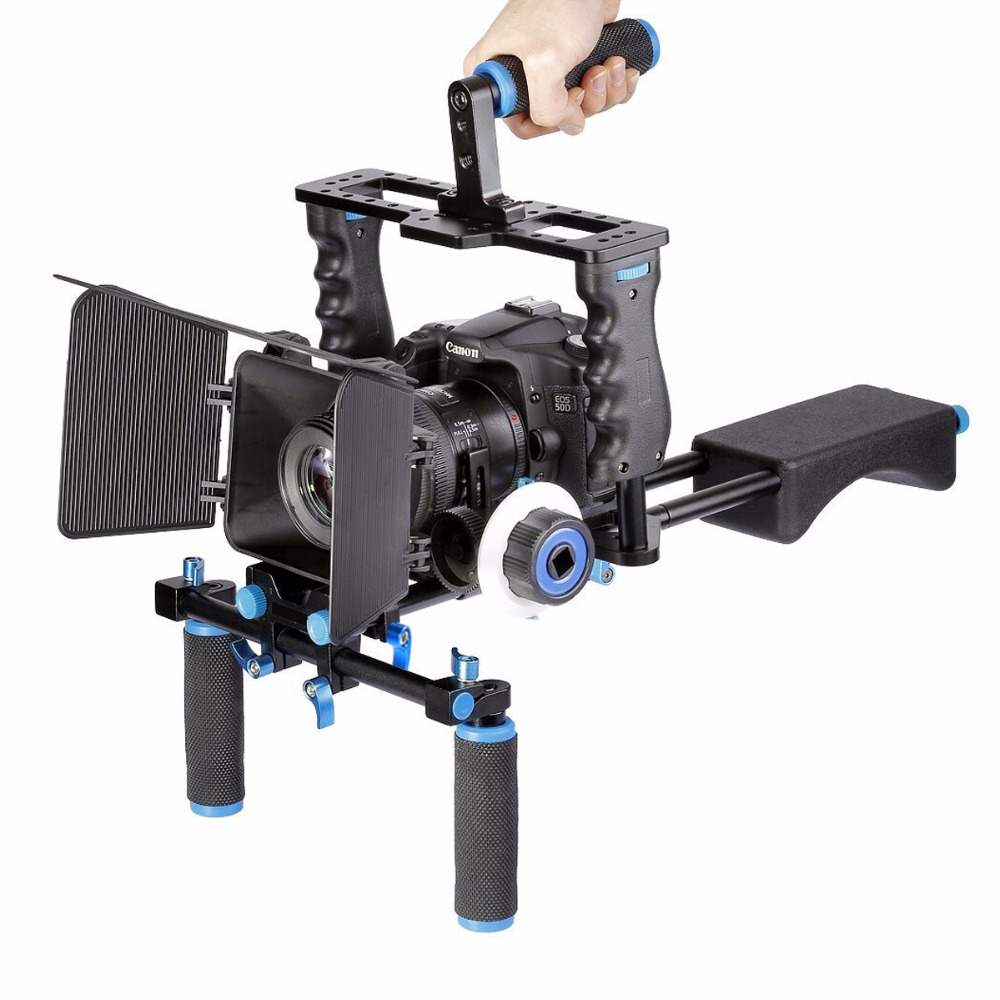 DSLR Rig Video Stabilizer Shoulder Mount Rig+Matte Box+Follow Focus+Dslr Cage for Canon Nikon Sony DSLR Camera Video Camcorder 2016 new koolertron hand grip handle shoulder mount rig follow focus adjust platform matte box sunshade for dslr cannon nikon