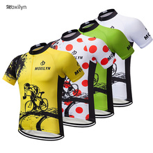 Moxilyn 2019 Unisex Yellow Green Red White 4 Colors Cycling Tops Short Sleeve Bike Clothing Summer Style MTB Jersey Shirt