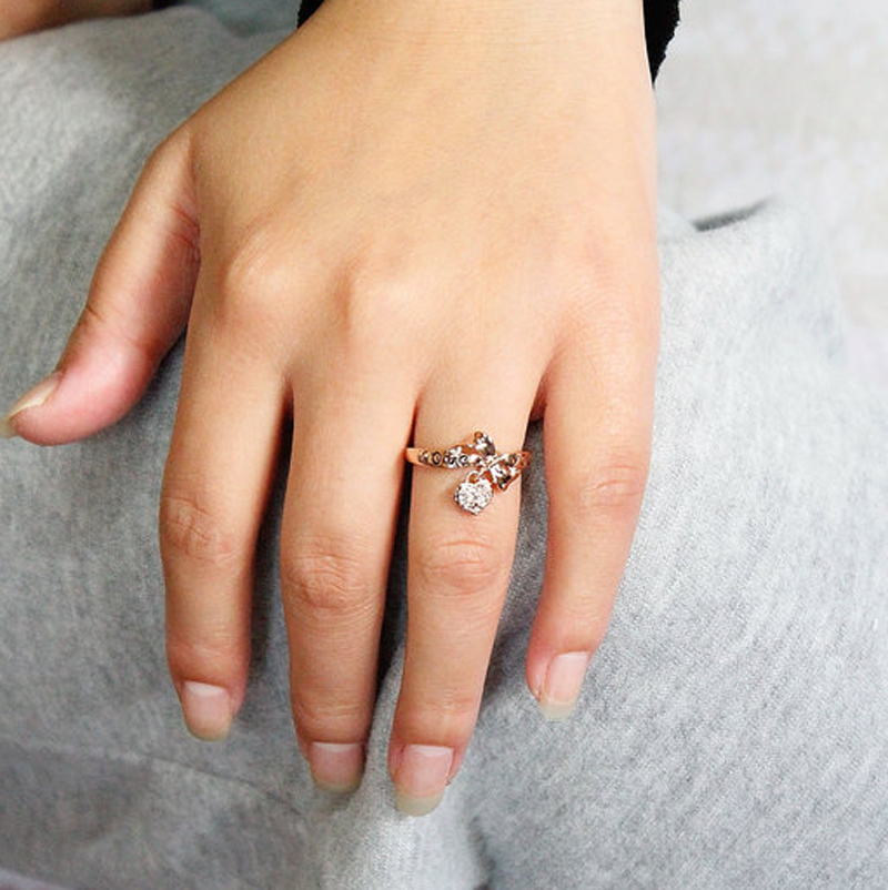 USTAR Rose Gold color wedding rings for women Love you word Heart