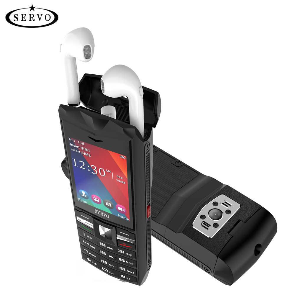 """オリジナルサーボ R26 2.4 """"携帯電話 tws 5.0 bluetooth ワイヤレスヘッドフォン 3000 2600mah のパワー銀行と GSM GPRS 2 SIM カード携帯電話"""