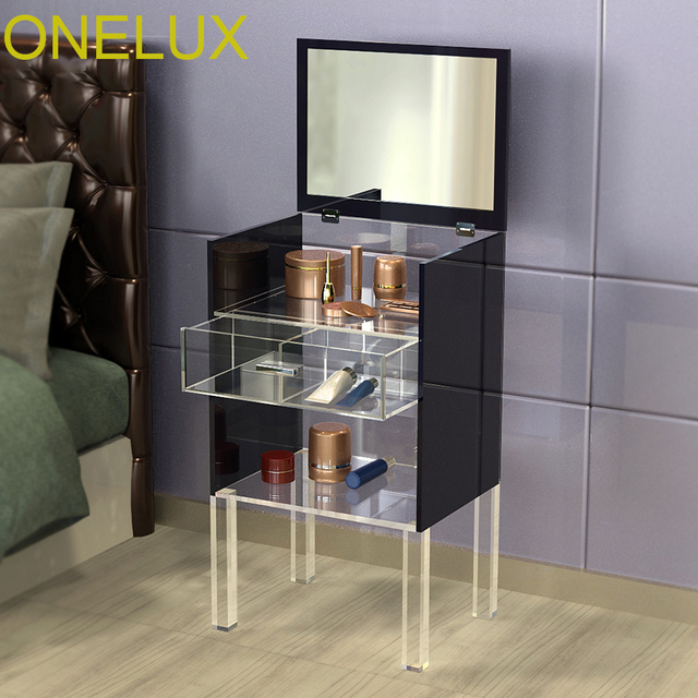Lucite Corner Cabinet, Acrylic Single Drawer Dresser - Top Flip-open Mirror Panel