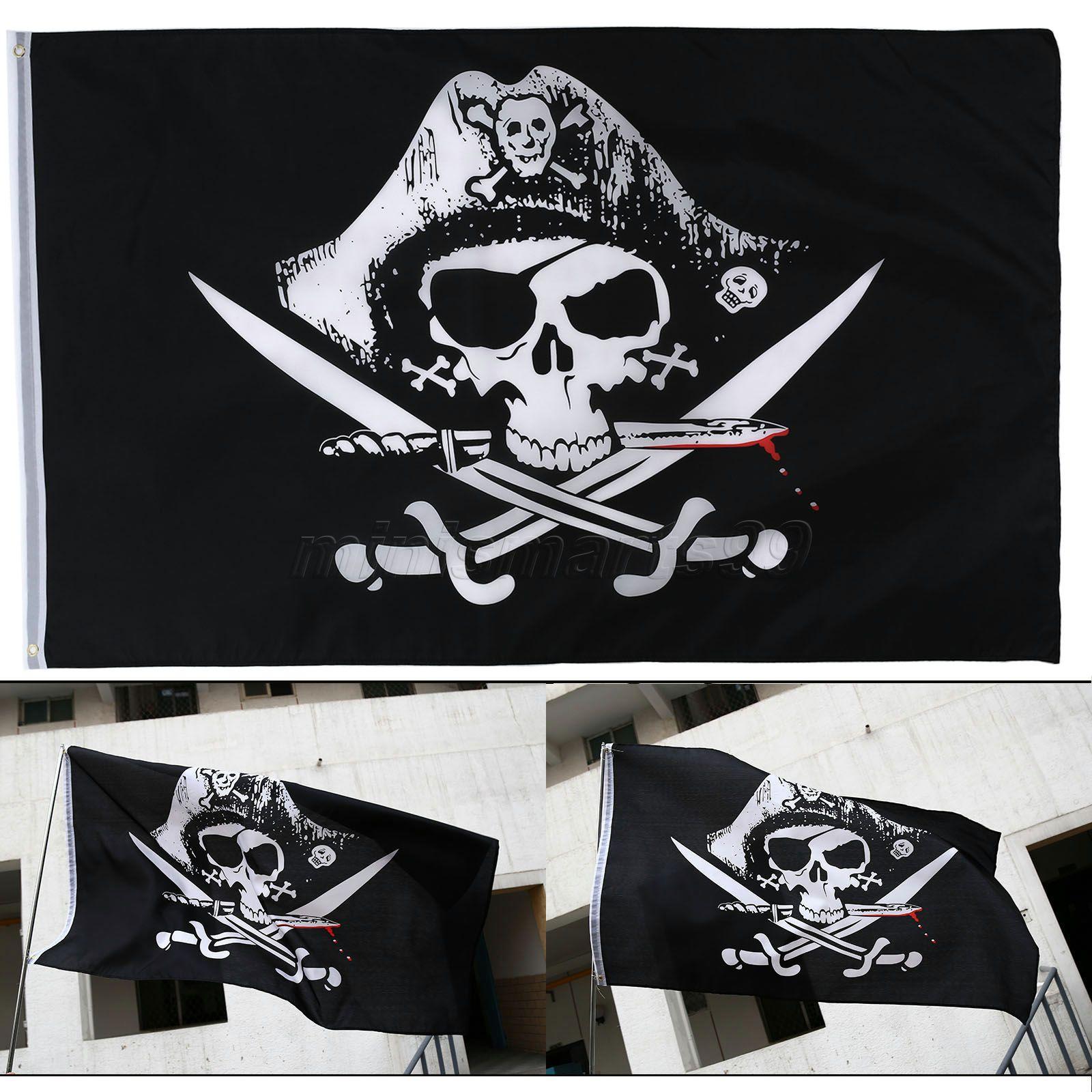 Skull and Cross Crossbones Sabres Swords Jolly Roger Pirate Flags KTV Decoration