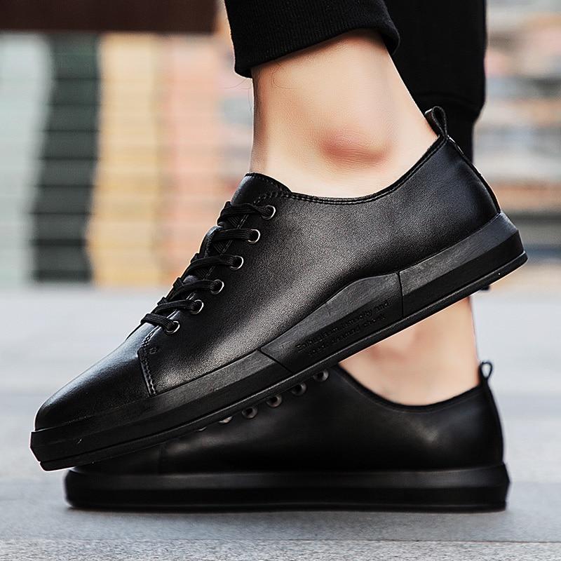 Hommes en cuir véritable chaussures décontractées à lacets automne en cuir de vache à lacets chaussures plates pour homme chaussures de mode oxfords mâle chaussures de marche L4