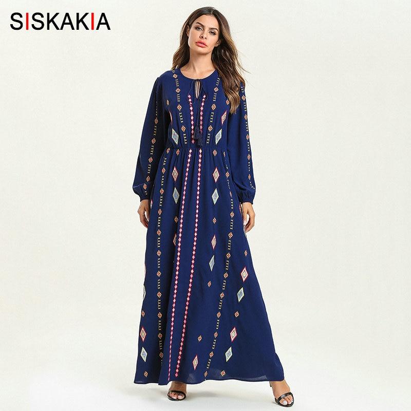 Siskakia Elegant Ethnic Geometric Embroidery Long Dress Blue Round Neck Long Sleeve High Waist Swing A