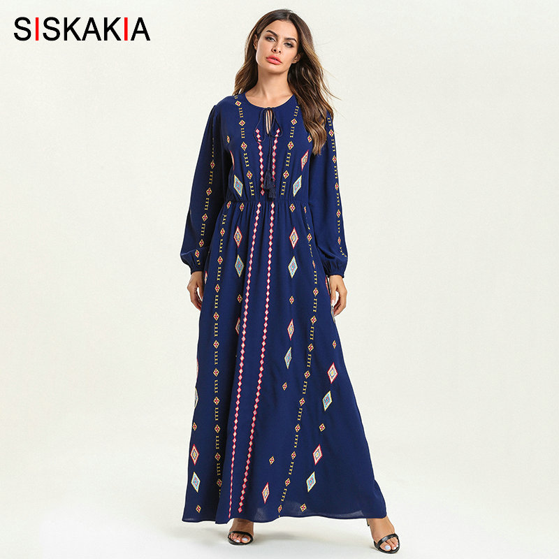 Siskakia Elegant Ethnic Geometric Embroidery Long Dress Blue Round Neck Long Sleeve High Waist Swing A line Dress Ankle Length-in Dresses from Women's Clothing    1