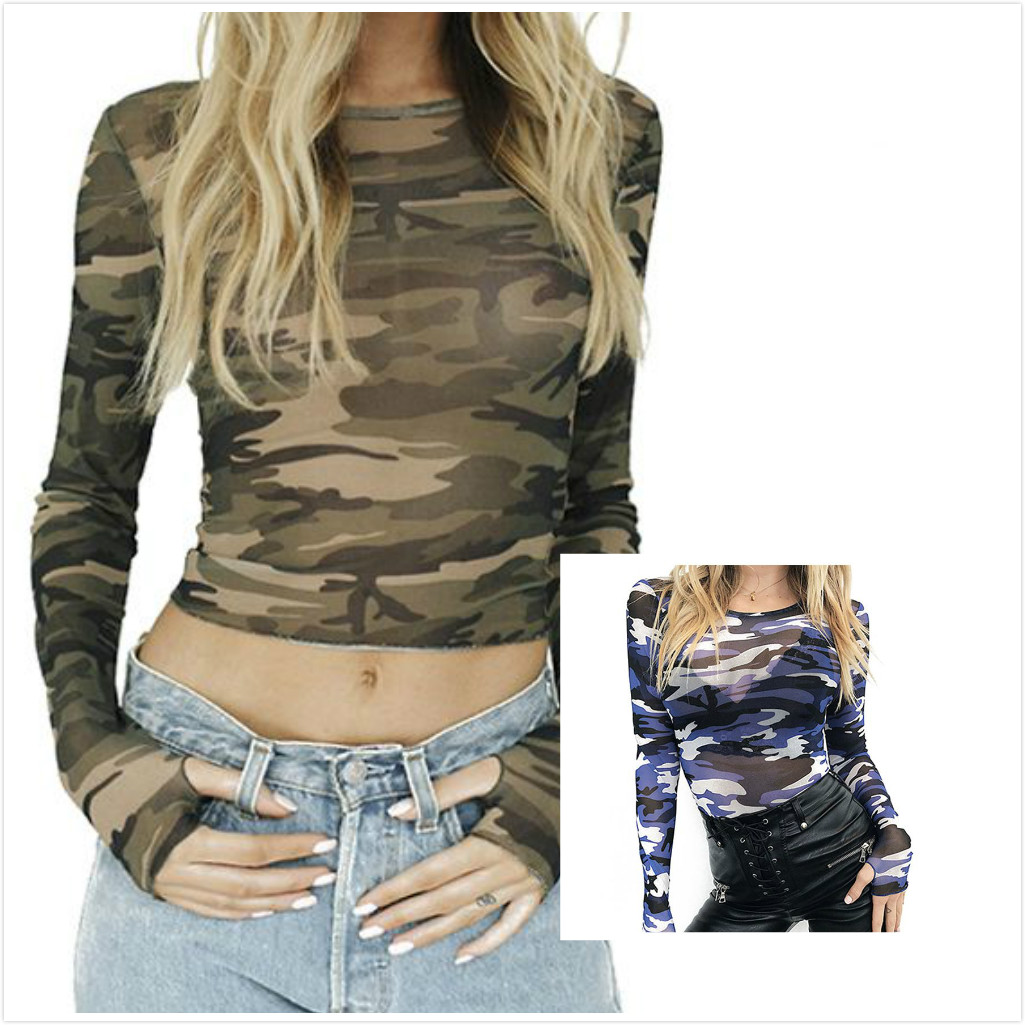 Women's New Fashion T Shirts Long Sleeve Slim Tee Tops Camouflage Print T-shirts Tops Casual O-neck Elasticity Mesh Crop Tops
