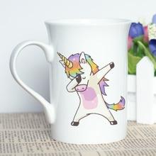 MAYREY Unicorn Printing Coffee Cup Bone China Ceramic Mug Dab Cool Design Cartoon 10oz/300ml