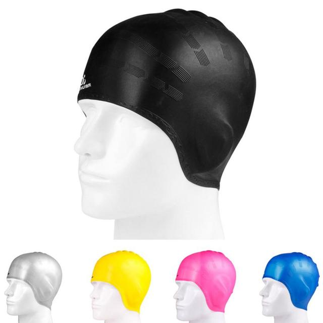 3ff6b6ef5a7 High Quality Durable Adult Men Women Moulded Swim Cap Elastic Silicone  Swimming Pool Hat Plain Protection Ear Swimming Cap NEW
