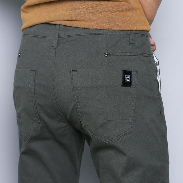 jantour 2018 New Casual Men Pants Cotton Slim Straight Trousers Fashion Business Design Solid Khaki Black Pants Men Plus Size 38 40