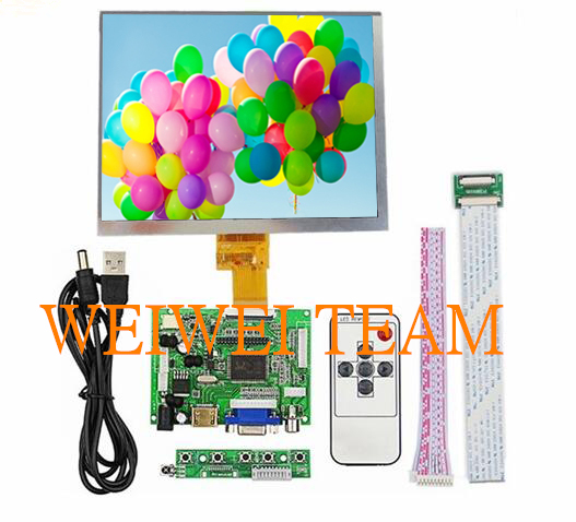 """HDMI/VGA/AV Control placa + 8 """"pulgadas HE080IA-01D 1024*768 IPS de alta definición pantalla LCD para Raspberry Pi"""