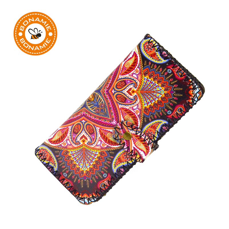 BONAMIE 2017 New Fashion Women Girl Handwork Wallet Purse PU Print Wave Female Long Purses Coin Pocket Credit Photo Card Holder 2017 new ladies purses in europe and america long wallet female cards holders cartoon cat pu wallet coin purses girl