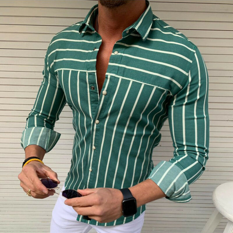 2019 Summer Luxury Fashion Men's Slim Fit Shirt Long Sleeve Male Clothing Casual Shirt Muscle Bodybuilding Tops Streetwear M-2XL