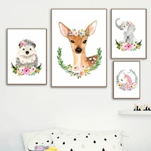 Cartoon Deer Elephant Unicorn Flower Animal Nordic Posters And Prints Wall Art Canvas Painting Pictures For Kids Room Decor