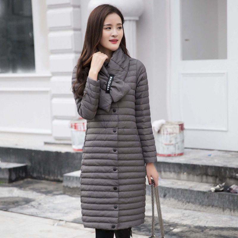 Women Stand Collar   Down   Jacket With Scarf Lady Medium-long   Down     Coat   Slim Witer Single Breasted Parkas Outerwear   Coat