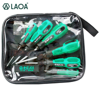LAOA CR V material 6 pcs screwdriver set with anti slip rubber handle with slotted and phillips head