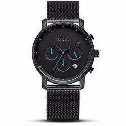 Relógio de quartzo masculino masculino relógios de aço preto malha relógios de corrida dos homens estudantes jogo run chronograph relógio masculino brilho mãos presente