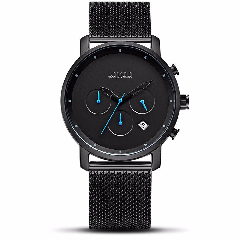 top Men Fashion Quartz Male Watches black Steel Mesh Watches Racing Men Students Game Run Chronograph Watch Male Glow Hands gift