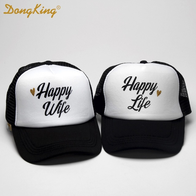 25cd1a0ca6b DongKing New Fashion Trucker Hat Happy Wife Letter Print Cap Happy Life Mesh  Top Quality Cap Love Romantic Gift Idea for Couples