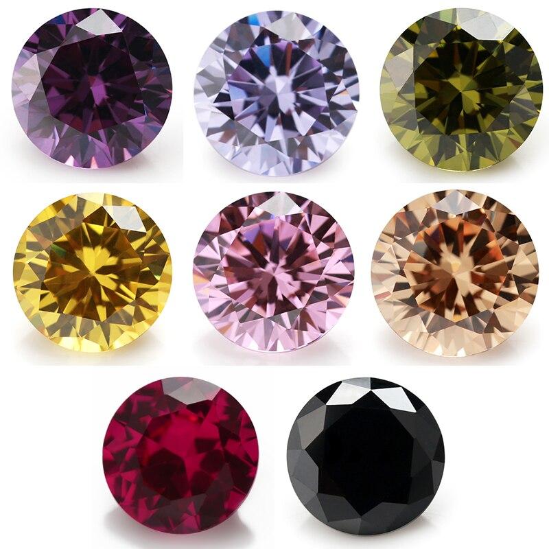 Multi Size 0.8~10.0mm 8 Colors Mix Color 50pcs Per Color Black/Pink/Purple Loose Cubic Zirconia Red 5#