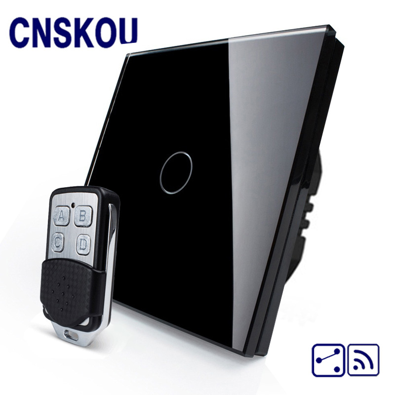 цена на CNSKOU EU Standard 1 Gang 2 Way AC220~250V 1000W Smart Home Intelligent RF 433MHZ Remote Control Touch Screen Glass Light Switch