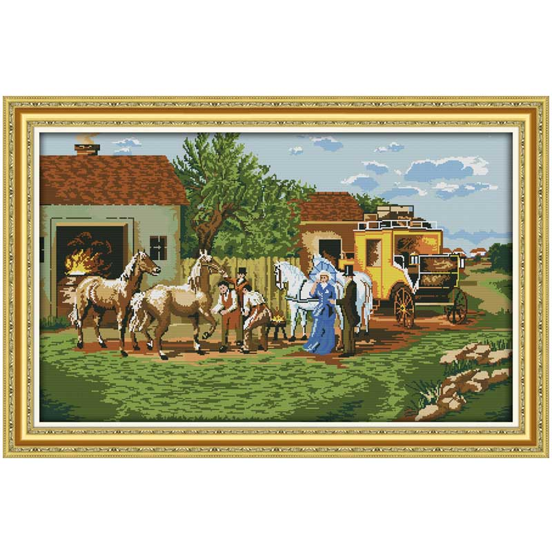 On their journey Patterns Counted Cross Stitch 11CT 14CT Cross Stitch Set Wholesale Cross-stitch Kit Embroidery Needlework