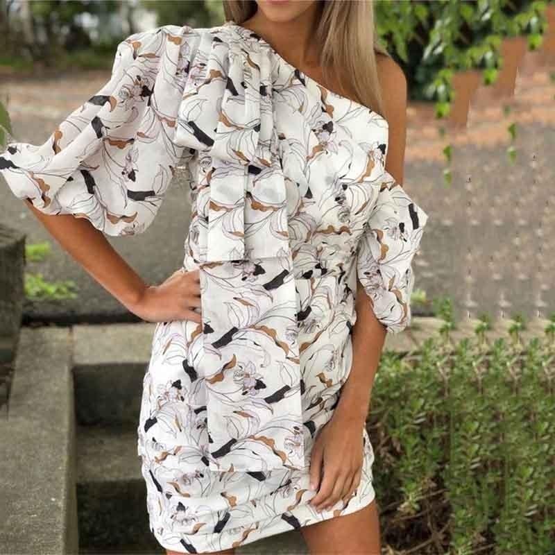 YaLee New Fashion 2019 Summer Flower Printed Sexy Slash Collar Short Slreeve Pleated Asymmetrical Package