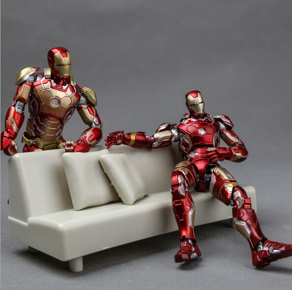 NEW hot 16cm avengers Super hero Iron man sofa MK42 movable Action figure toys collection Christmas gift with box 2017 new avengers super hero iron man hulk toys with led light pvc action figure model toys kids halloween gift